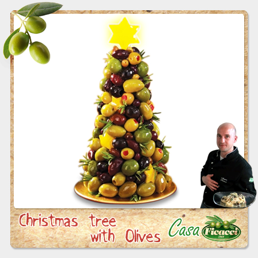 <font color='#009fe3'>Christmas tree with olives