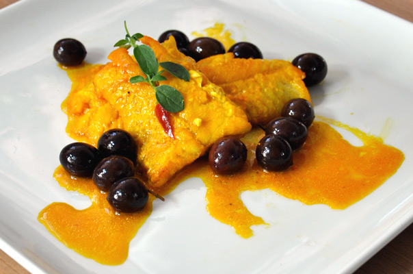 <font color='#009fe3'>Grouper fillet, saffron and Gaeta olives.