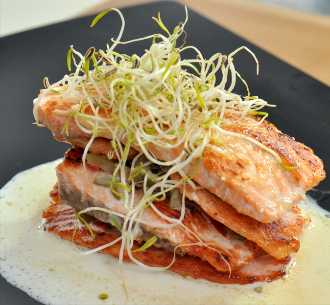 <font color='#009fe3'>Salmon mille feuille with cheese olives
