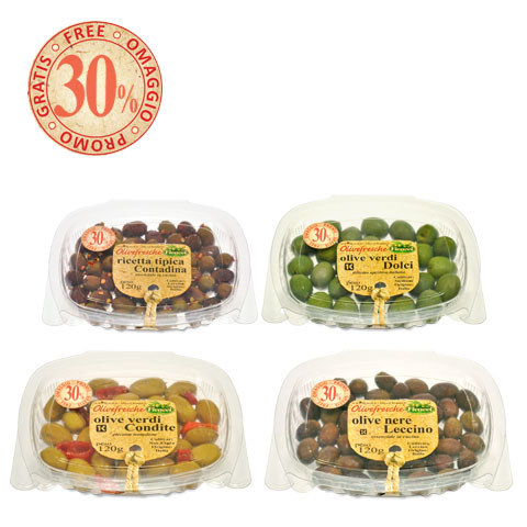 olivein vaschette da 100g marinate --- olives in 100g trays marinated