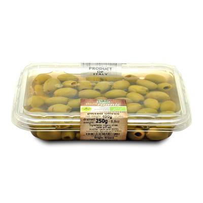 PITTED green ORGANIC olives - 300g - PITTED green ORGANIC olives - 300g