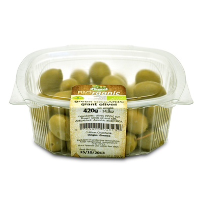 giant green ORGANIC olives - 400g - giant green ORGANIC olives - 400g