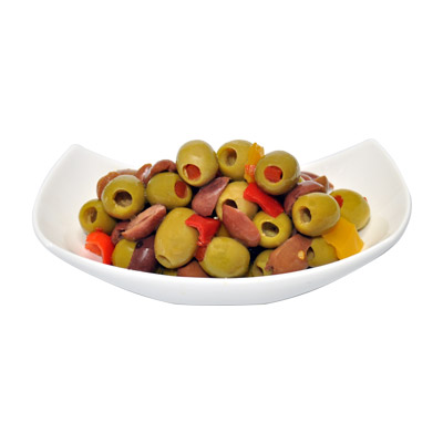 Olives Mix with Stuffed, Pitted and Black Half sliced Kalamon (from Greece) - Olives Mix with Stuffed, Pitted and Black Half sliced Kalamon (from Greece)